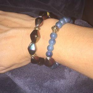 Porcelain bracelets antique brass accent beads